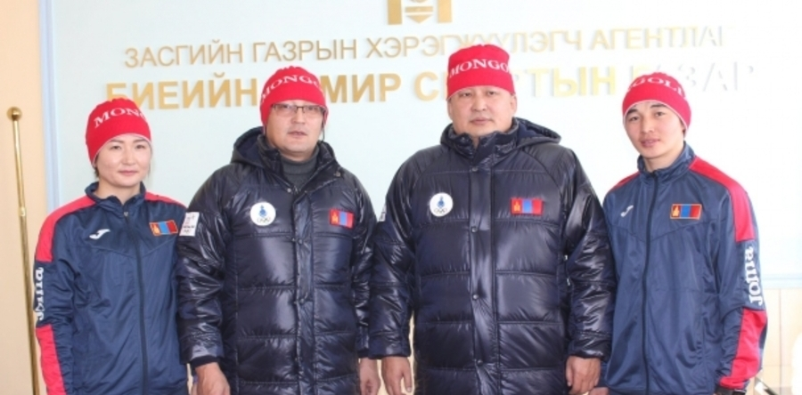 bcfae252437 ... a ceremony to hand over uniform for Mongolian three athletes and  accompanying team to participate the PyeongChang 2018 Winter Olympic Games  took place.